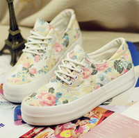 Wholesale 2014 spring summer women sneaker canvas shoes floral flowers platform flat casual sport running shoes fashion designer brand cheap shoes