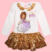 Wholesale Nova brand factory outlet kids gold sequin dress Sofia the First cartoon character costume baby girl long sleeve evening dresses F4832