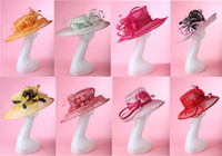 Stingy Brim Hat hats elegant - Free EMS Shipping Elegant Women s Summer Hat Sinamay Hat Wide Brim For Formal Dress Sinamay Hat Women Hat Pieces