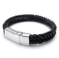 Wholesale Fashion men s leather bracelet with l stainless steel buckle bags brown color bracelets jewelry punk black leather bracelet