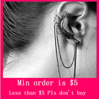 Wholesale Min Order Mix Jewelry order Color Punk Double Chain Feather Leaf Tassels Dangle Ear Cuff Warp Clip Earring E0400