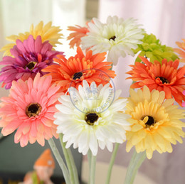 Wholesale 1PCS cm Artificial Gerbera jamesonii with stem slik flowers plants for Wedding Party Home Decoration gift craft DIY available