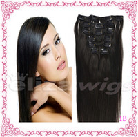 Wholesale 16 inch Natural Black B Full Head Clip in Human Hair Extensions High quality Remy Hair g Weight