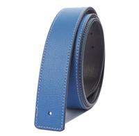 Fashion Genuine Leather Belt Slide Strap Without Buckle (4 c...