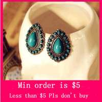 Wholesale Min Order Mix Jewelry order Retro Vintage Drops Gemstone Stud Earrings Elegant Earring E3143