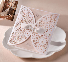 Wholesale FASHION Beige laser cut wedding invitation card with envelope and seal Folio Fine hollow bow romantic wedding invitations HS
