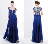 dhg - Dhg Cheap Pant Suits Royal Blue Plus Size Sexy With Sleeves Evening Dress Long Vintage Wedding Gowns Dresses Mother of The Bride Groom