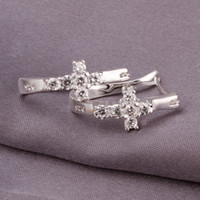 Wholesale 37521 Cross Hoop Earring Crystal Silver Earrings Silver Plated Cross Hoop Earring Drop Shipping