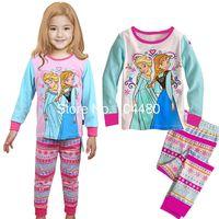 Girl Summer 90-95-100-110-120-130 2014 New Arrival Summer Frozen Children Pajamas Long Sleeve Princess Cartoon Baby Girl Frozen Homewear Kids Pajamas 90-130 6set lot GX284