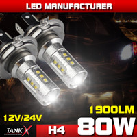 Wholesale 2PCS W H4 lm Super Bright Cree LED Fog Driving light Daytime Running Light Headlight Projector Lens High Power Bulbs Replacement