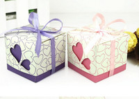 Wholesale Ribbons Are Included Wedding Favor Candy Boxes Pink and Purple Colours Wedding Party Gift Box