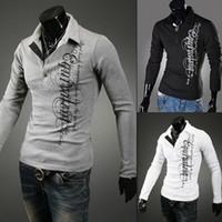 Wholesale Hot sale Mens V neck T Shirts Men Long sleeve T shirt new letters printed lapel Slim Men t shirts apparel
