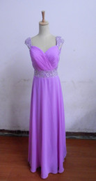 Wholesale US8 In Stock Day Dispatch Strapless Light Purple Chiffon With pleated Crystals beads A line Floor length Bridesmaid dress gown