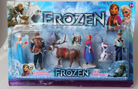 PVC animated sets - Frozen The Snow Queen Anna Elsa Kristoff Hans Olaf in Animated character Dolls children gift set