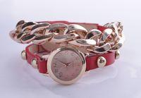 Fashion Punk Leather Watch Golden Chain Bracelet
