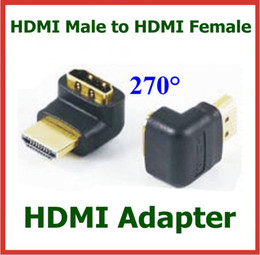 10pcs Gold Plated HDMI Connector HDMI Male to Female 270 Degree Angle Adapter HDMI Extend Cable Converter Connector