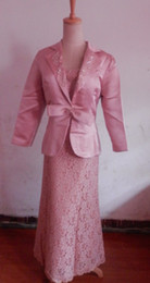 Wholesale In Stock Day Dispatch Pink Satin and Lace Mother of the Bride Dresses Detachable top skirt and jacket boloro