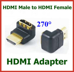 50pcs Gold Plated HDMI Connector HDMI Male to Female 270 Degree Angle Adapter HDMI Extend Cable Converter Connector