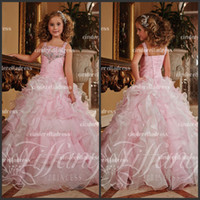 Wholesale 2014 Spaghetti Beads Ballgown Spaghetti Kids Party Prom dresses Cinderella Girls Pageant Dress Style Ruffle Pink Pageant Dress Girls TE13371