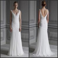 Trumpet/Mermaid Reference Images V-Neck 2014 V Neck Backless Beach Bridal Gowns Sweep Train Lace Bridesmaid Dress Ruffled Chiffon Summer Garden A-Line Beach Mermaid Wedding Dresses