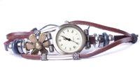 Fashion Genuine Leather Retro Flower Watch Bracelet #24733