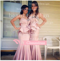 Wholesale 2014 Charming light pink satin mermaid bridesmaid dresses sequins beaded sweetheart backless sleeveless floor length evening gown BO2992