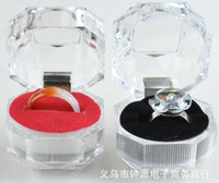 Wholesale Fashion Hot Rings Box Jewelry clear Acrylic cheap Boxes wedding gift box ring stud dust plug box