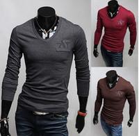 Wholesale Hot sale Men Long sleeve T shirt pure cotton t shirts new high grade V neck sport shirts men s t shirts clothing
