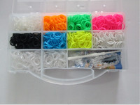 Wholesale Rainbow loom kit Small clear plastic box for Kids DIY bracelets With ps rubber bands clips hook New Arrival