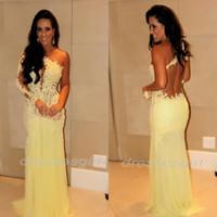 al por mayor ver a través vestido amarillo-2016 Venta caliente barato Backless luz amarilla formal vestidos de noche con mangas largas ver a través de Tulle sexy sirena Beach Prom Dresses AS635