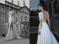 A-Line Reference Images V-Neck 2014 New Arrival Column Wedding Dress Bridal Gowns Berta Bridal Illusion Long Sleeve Backless Appliques Lace Beads Sexy High Split ZA057
