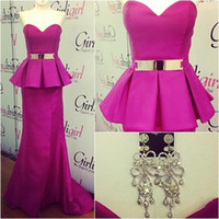 Reference Images Sweetheart Satin 2015 Prom Gowns with Real Pictures Mermaid Sweetheart Fuchsia Satin Sash Peplum Sleeveless Evening Dresses Formal Gowns 0516