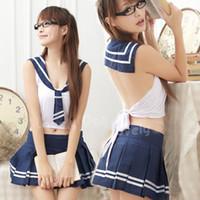 Wholesale Hot Sale Lingerie Japan Pure Ladies Games Play Lingeries Sets Student uniforms personate Lingeries Blue Pink B219