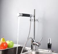 Wholesale Chrome Brass Pull Out Spray Kitchen Sink Faucet Mixer Tap Single Handle FH81