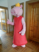 Mascot Costumes Unisex Free Size Wholesale -New Arrival Peppa Pig with Crown Mascot Costume Halloween Costumes Chirstmas Party Adult Size ,Factory direct! Free EMS