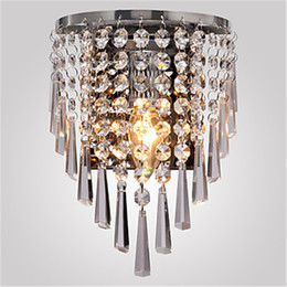 Wholesale 100 Beautiful Crystal Wall Lamp Modern Crystal Wall Light Stainless steel K9 Crystal Wall Lamp Bedroom Bedside Lighting