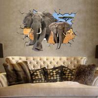 african religious art - 2015 new large size African Animal Elephants and Antelope Wall Sticker living room D Wall Decals bedroom wall paper