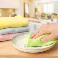 Wholesale Double sided Color Rag Superfine Fiber Cleaning Cloth Absorbent Dishcloths Super Soft Hand Towels Kitchen Tools