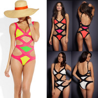 Sexy Bandage Dress Swimwear Elastic Bikini One- piece Monokin...