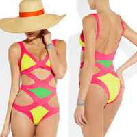 Wholesale Sexy Bandage Dress Swimwear Pink Yellow Elastic Bikini One piece Monokini swimsuit Beachwear Swimsuits Stretchy Bathing Suit Promotion B022