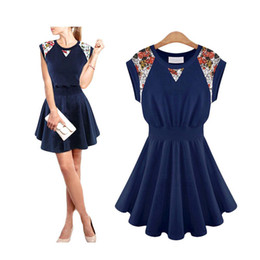 Wholesale S5Q Women s Girl Vintage Floral Ruffle Evening Cocktail Party Summer Mini Dress AAADGA