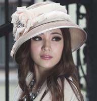 Wholesale Fashion Dress Women Hat Winter Dress Warm Velvet Hat Women Shawl With Flower Organza Trims Big Brim Hat Winter Hat