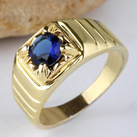 mens sapphire ring - New Mens Gold Filled S925 Sterling Silver Ring Blue Sapphire Round Size10 R113