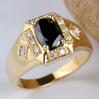 Men's black onyx rings - New Cute Mens Gold Filled Real Sterling Silver Ring Black Onyx Size10 R117