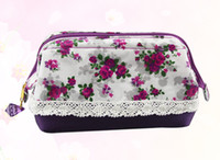 Wholesale Hot Selling Dazzle rose Lace Japanese order Cosmetic Bag PVC cosmetic bag