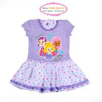 Summer designer one piece dress - New Arrival Children s Summer Clothes Girls Cartoon Designer Purple Striped Patched One piece Dress Kids
