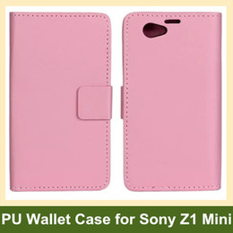 Wholesale Popular PU Leather Wallet Flip Cover Case for Sony Xperia Z1 Mini M51w Z1 Compact Free Shipping