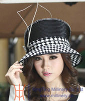Wholesale Hot Sale New Winter Satin Dress Hat Ladies Church Hat Polyester Feather Diamond Casings Satin Dress Hats For Women Black