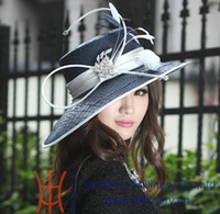 Wholesale Winter New Arrival Ladies church Hat Polyester Hat Satin Dress Hat Wide Brim Dress Hats For Women Navy Feather
