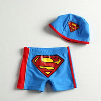 Boy One-piece 100 110 120 130 140 150cm= (For 1-10Y 2014 New Baby Boy Swimwear Summer Beach Swimsuit Cotton Superman Suits Children Clothing Cap And Swimming Trunks